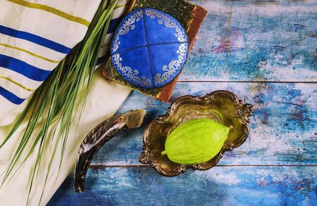 Jewish ritual festival of Sukkot in the jewish religious symbol Etrog, lulav, hadas arava kippah and shofar tallit praying book Stock Photo