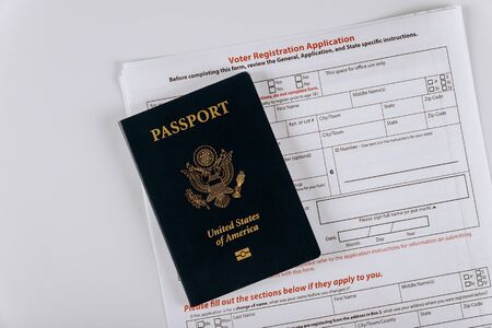 United States Passports and United States voter registration application ready Stock fotó