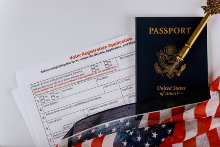 American Flag of Voter Registration Application form for presidential US election United States Passports Stock fotó