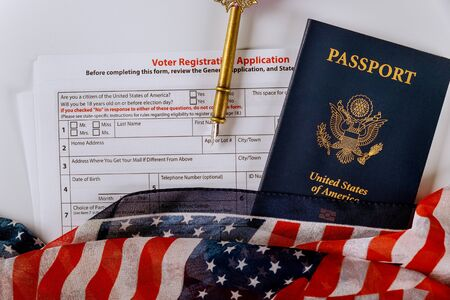 American vote with USA of American citizenship registration passport covered by American Flag Stock fotó