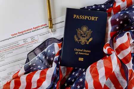 American citizenship registration American vote with USA passport covered by American Flag