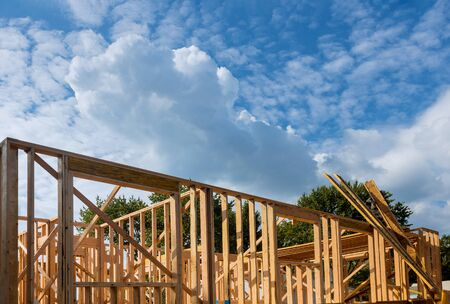 Exterior view construction new residential home framing