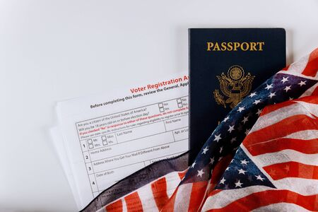 Voter Registration Application form for presidential US election United States Passports on of American Flag