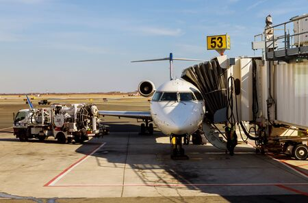 FEB 14, 2019 JFK NEW YORK, USA: Airlines at airport in the world with Delta Airlines jet planes, airport terminal gates Servicing F. Kennedy International Airport.
