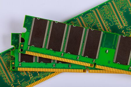 Memory RAM modules chips for computer over white background Фото со стока