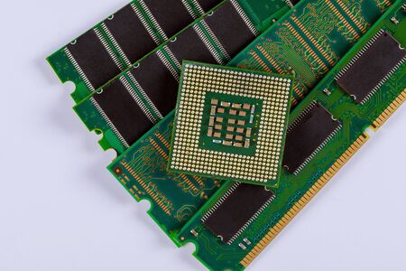 CPU chip processor and RAM memory modules in isolated on white background