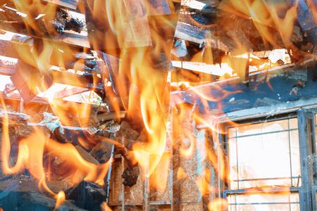 Burning wooden house fire view rise from burning house Stok Fotoğraf