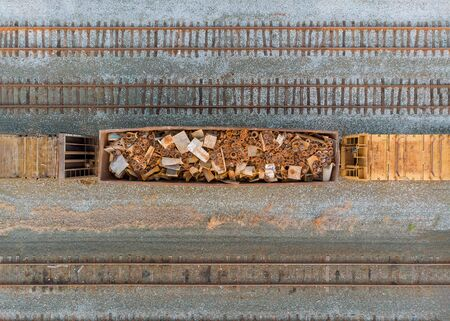The recycling of scrap metal railway wagons loaded with scrap metal