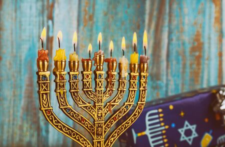 Jewish Holiday symbol Hanukkah menorah Hanukkah, the Jewish Festival of Lights Zdjęcie Seryjne