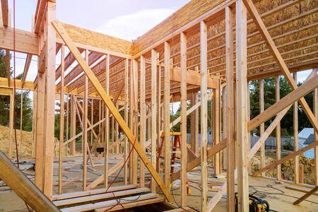 Framing beam of new house under construction home beam construction Stock fotó