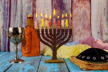Jewish holiday Hanukkah menorah with burning candles Stock fotó
