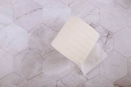 Roll of soft toilet paper on white tiles in bathroom 스톡 콘텐츠