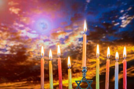 Hanukkah Menorah Jewish holiday symbol brightly glowing Zdjęcie Seryjne