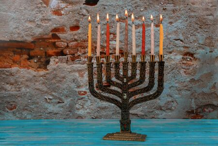 Hanukkah candles a traditional Jewish holiday candelabra festival of lights