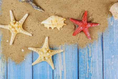 Summer holiday with seashells, starfish, sand frame on wooden board Foto de archivo