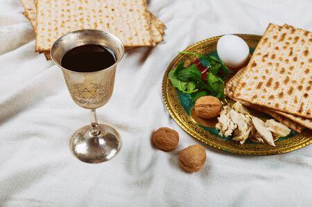 Holiday jewish passover bread matzoh celebration of kosher wine