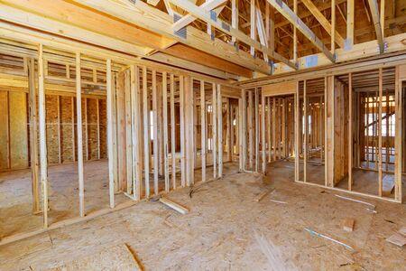 Beam stick built frame of a new house under construction
