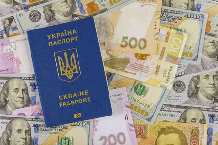 New blue Ukrainian electronic passport for travellers with American dollars cash money and Ukrainian hryvnias