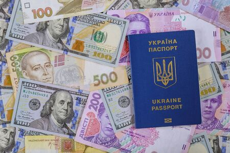 Passports of citizens of Ukraine for traveling with money ukrainian currency hryvnia and US dollar bills