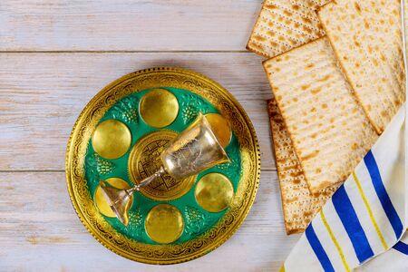 Passover Seder table traditional jewish matzo passover bread