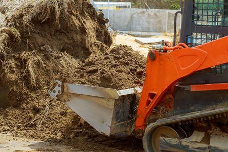 The bulldozer moves soil digging ground construction equipment Stock fotó