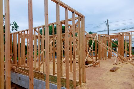 Interior view of a house under construction home framing Stock Photo
