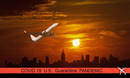 U.S. pandemic canceled travel US quarantine covid-19 at New York city skyscrapers in financial district, NYC USA passenger plane flying