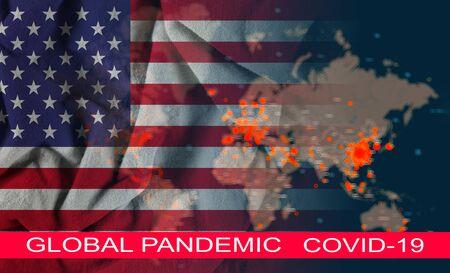 Baned travels quarantine global pandemic corona virus with COVID-19 Coronavirus chinese infection of the USA