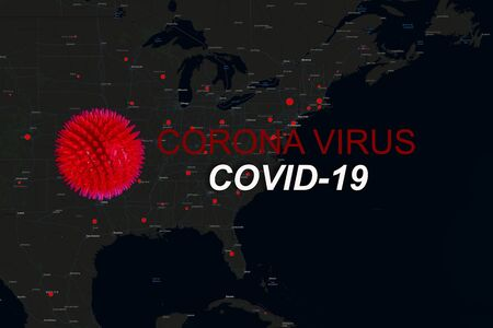 Pandemic Covid-19 Coronavirus in USA Quarantine, US map of Covid-19 in the statue of liberty