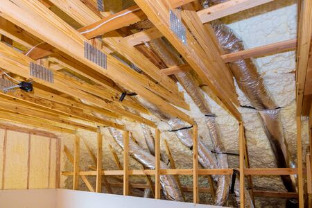 New home construction on the roof thermal insulation a new house under the roof of air