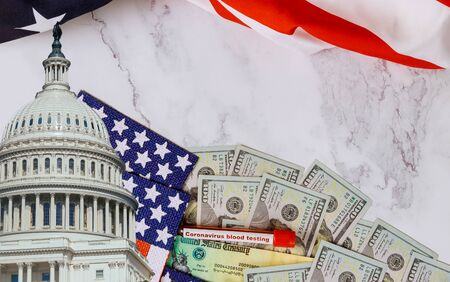 Senate and House of Representatives of United States Government the stimulus package financial package government for people, American flag and US dollar cash banknote Stock fotó