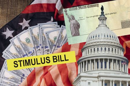 Senate stimulus deal includes individual checks virus economic stimulus plan USA dollar cash banknote on American flag Global pandemic Covid 19 lockdown Stock fotó