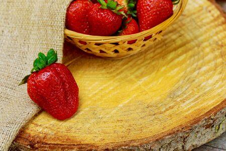 Sweet natural big organic red ripe strawberries