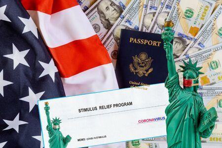 Financial stimulus bill Global pandemic Covid 19 lockdown US dollar cash banknote