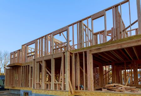 Building of New Home Construction exterior wood frame and beam construction