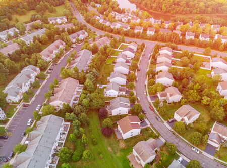 Aerial view from a drone from a height view low rise houses of the village of America Stockfoto