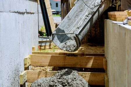 Formwork in pouring staircase cement concrete structure in residential house building of construction 스톡 콘텐츠