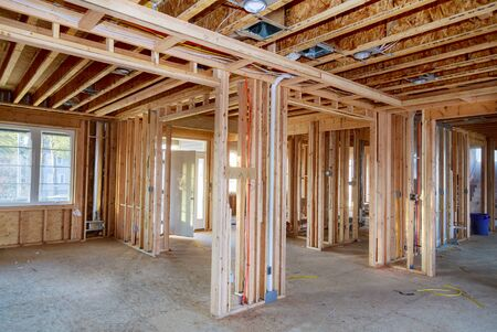 American residential frame house under construction home in interior residential home
