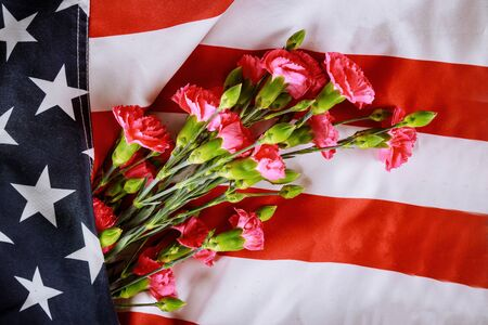 American Celebration Memorial day, carnation flowers on american flag background