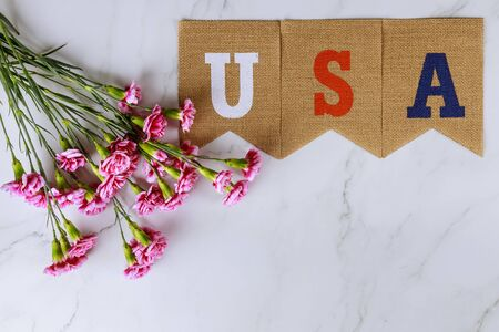 Memorial day, the remembrance veterans celebration with text USA on pink carnation flowers Standard-Bild