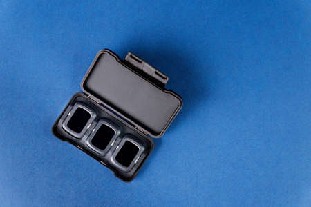 Los Angeles CA US 16 MAY 2020: New style case with Neutral Density and polarising filter set for the camera of the DJI Mavic Air 2, quadcopter drone