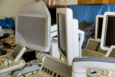 Ultrasound equipment in warehouse being prepared to be sold of professional equipment