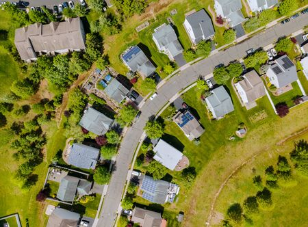 Panoramic view of neighbourhood single-family over suburban homes in residential area with Brooklyn New York NY