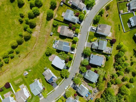 Aerial drone view of small town residential area of a neighborhood with Brooklyn New York NY