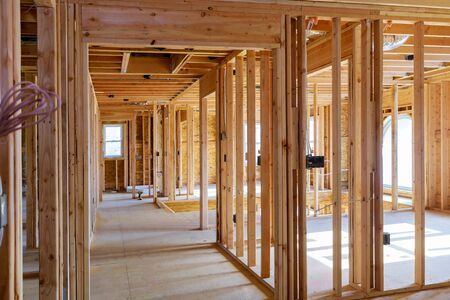 Framing home unfinished wood building or a house under construction