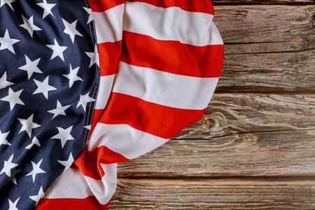 USA national holidays American flag on wooden background Memorial day Foto de archivo