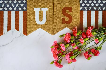 Pink carnation flowers veterans memorial day celebration with American Flag with text US Standard-Bild