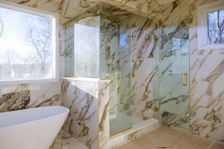 Beautiful bathroom in new home with renovation of a luxury bathroom estate home shower