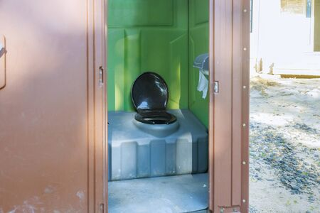 Mobile chemical open toilet cabin to use in construction area