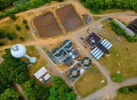Aerial view of sewage treatment plant water tanks in the wastewater treatment processing after plant in systems